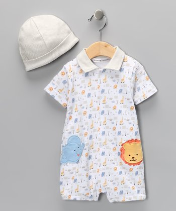 White Safari Romper & Beanie - Infant