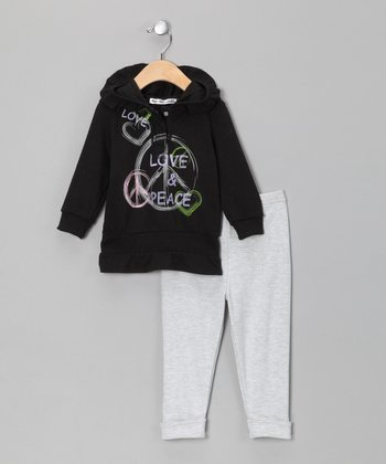 Black & Gray 'Love' Hoodie & Pants