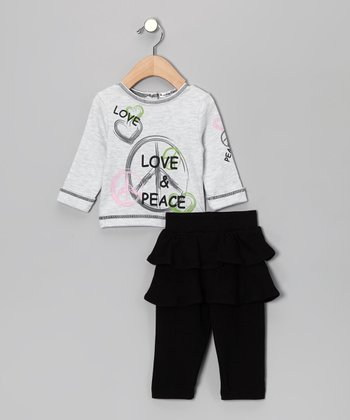 Gray & Black 'Love & Peace' Top & Skirted Leggings