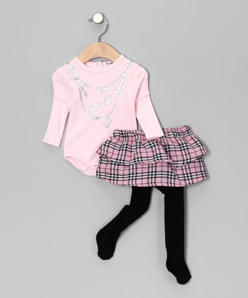 Pink Plaid Bodysuit & Skirted Tights - Infant
