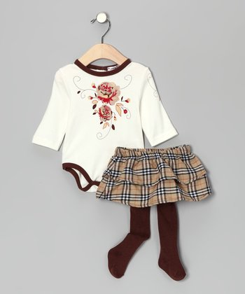 Brown & Ivory Plaid Bodysuit & Skirted Tights - Infant