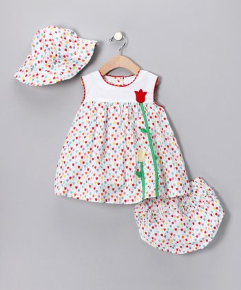 Red Rainbow Tulip Dress Set - Toddler
