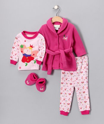 Pink Fuzzy Fairy Bathrobe Set - Infant