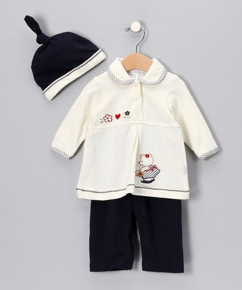 Rumble Tumble Crème & Navy Bear Pants Set - Infant