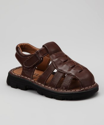 Brown Strappy Closed-Toe Sandal