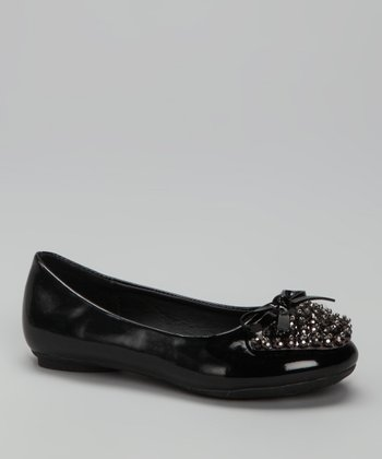 Rya Black Patent Beaded Ballet Flat