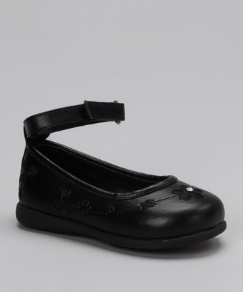 Rya Black Flower Ankle-Strap Flat