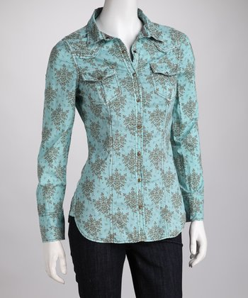 Ryan Michael Turquoise Pocket Corset-Back Shirt
