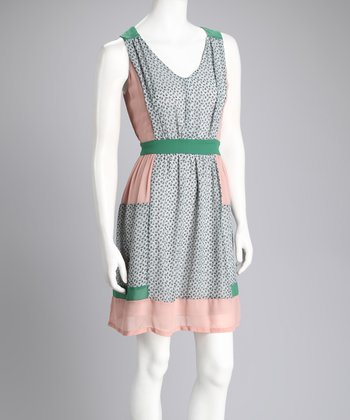 Mint & Pink Sleeveless Dress