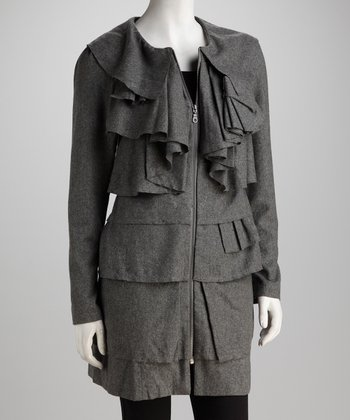 Gray Waterfall Ruffle Wool-Blend Coat