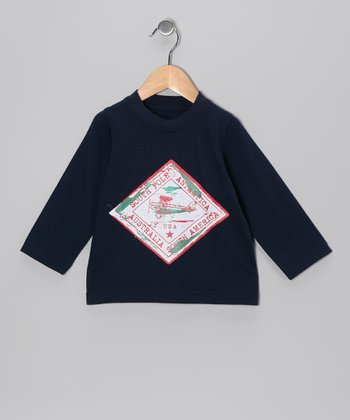 Navy Plane Long-Sleeve Tee - Infant, Toddler & Boys