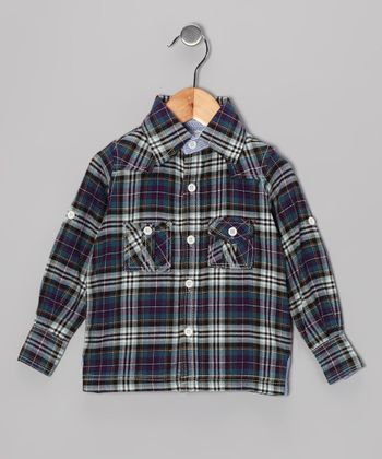 Navy Plaid Western Button-Up - Infant, Toddler & Boys