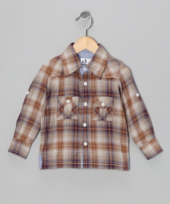 Rust Plaid Western Button-Up - Infant, Toddler & Boys