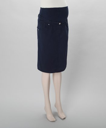 Navy Maternity Pencil Skirt