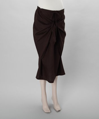Brown Linen Knot Maternity Skirt