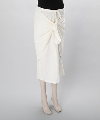 Cream Linen Knot Maternity Skirt