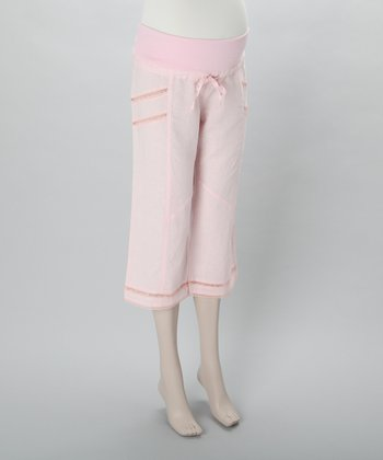 Pink Lace-Trim Maternity Capri Pants