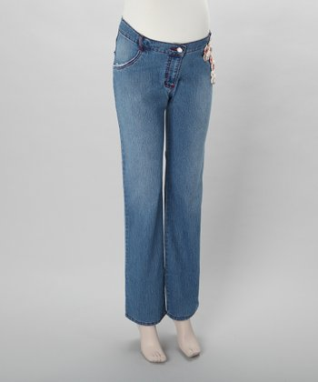 Stone Wash Budding Maternity Straight-Leg Jeans