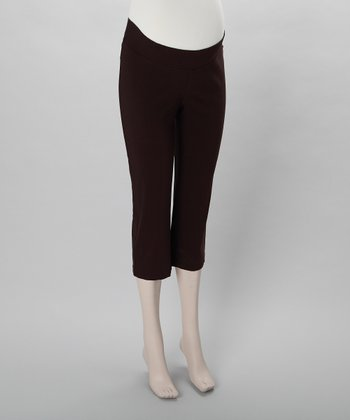 Brown Maternity Capri Pants