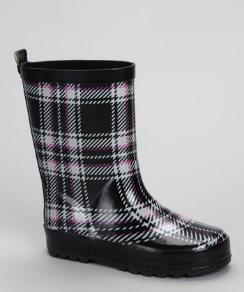 Black & Pink Plaid Rain Boot