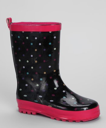 Black & Fuchsia Polka Dot Rain Boot