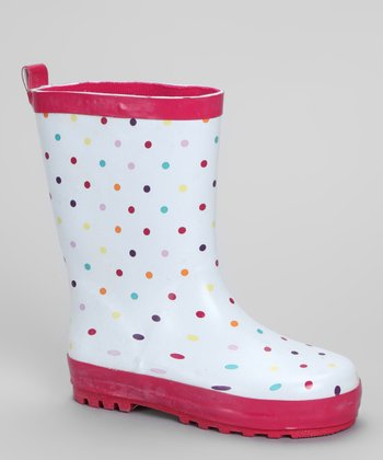 White & Fuchsia Polka Dot Rain Boot