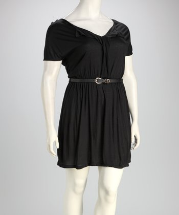 Black Plus-Size Belted Dress