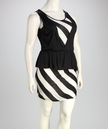 Black & White Stripe Plus-Size Peplum Dress
