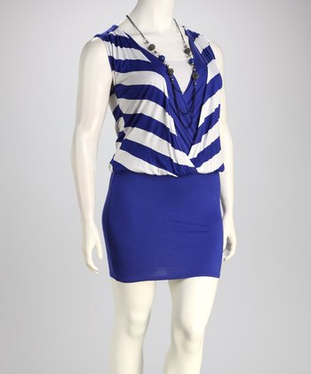 Royal & White Stripe Plus-Size Drape Dress & Necklace