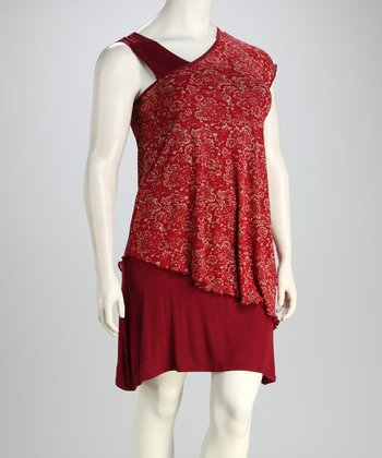Burgundy Mesh Floral Plus-Size Dress