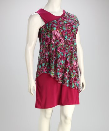 Magenta Floral Plus-Size Dress