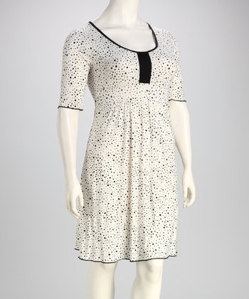 Ivory Polka Dot Plus-Size Dress