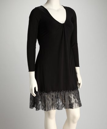 Black & Silver Plus-Size Lace Hem Dress
