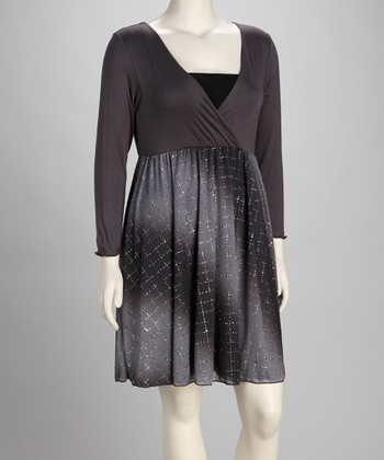 Gray Plus-Size Surplice Dress