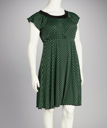 Black & Green Polka Dot Plus-Size Dress