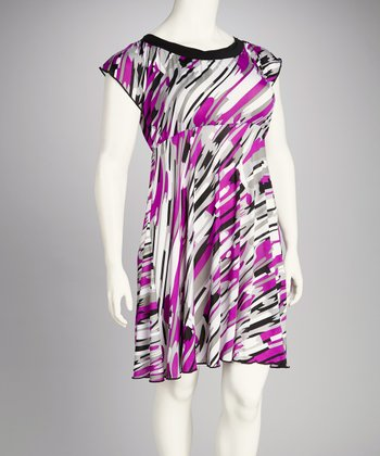 Purple & Gray Abstract Plus-Size Dress