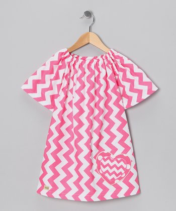 Pink Chevron Heart Dress - Toddler & Girls