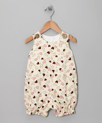 Ivory & Brown Heart Bubble Romper - Infant