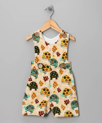 Cream Turtle Shortalls - Infant