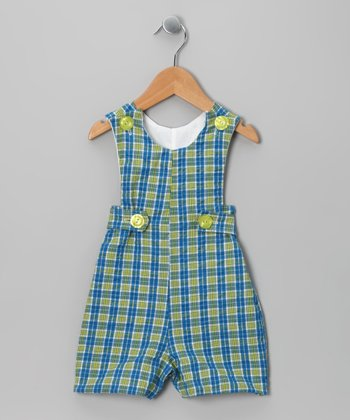 Blue & Green Plaid Shortalls - Infant