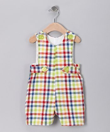 Multicolor Gingham Shortalls - Infant