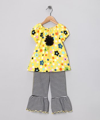 Yellow Floral Peasant Tunic & Capri Pants - Toddler & Girls