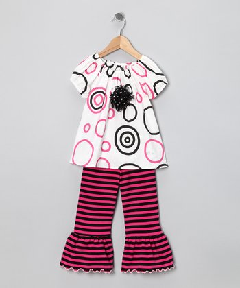 Pink & Black Circle Peasant Tunic & Capri Pants - Toddler & Girls