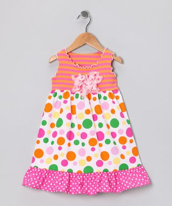 Orange & Pink Polka Dot Ruffle Dress - Infant, Toddler & Girls