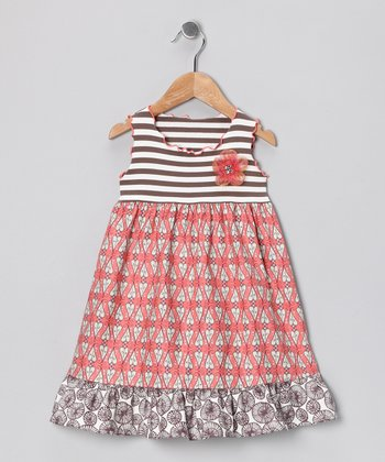 Coral & Taupe Heart Ruffle Dress - Infant, Toddler & Girls