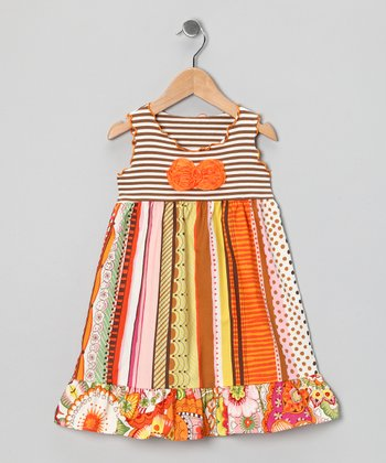 Orange & Taupe Stripe Ruffle Dress - Infant, Toddler & Girls