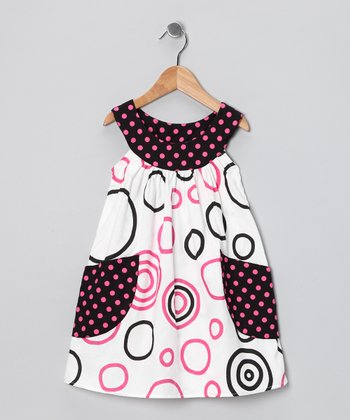 Pink & Black Circle Pocket Yoke Dress - Toddler & Girls