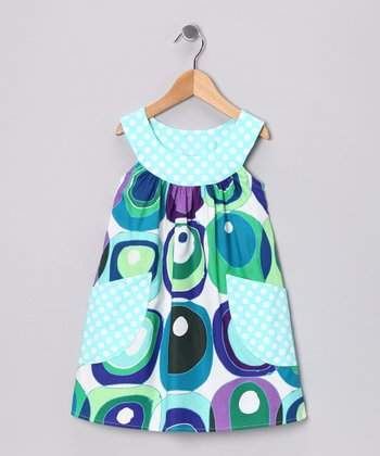 Blue & Green Retro Circle Pocket Yoke Dress - Girls
