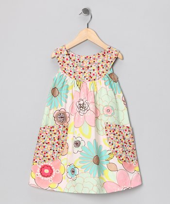 Pink & Blue Pastel Floral Pocket Yoke Dress - Toddler & Girls