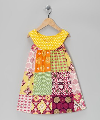 Pink & Yellow Patchwork Yoke Dress - Girls